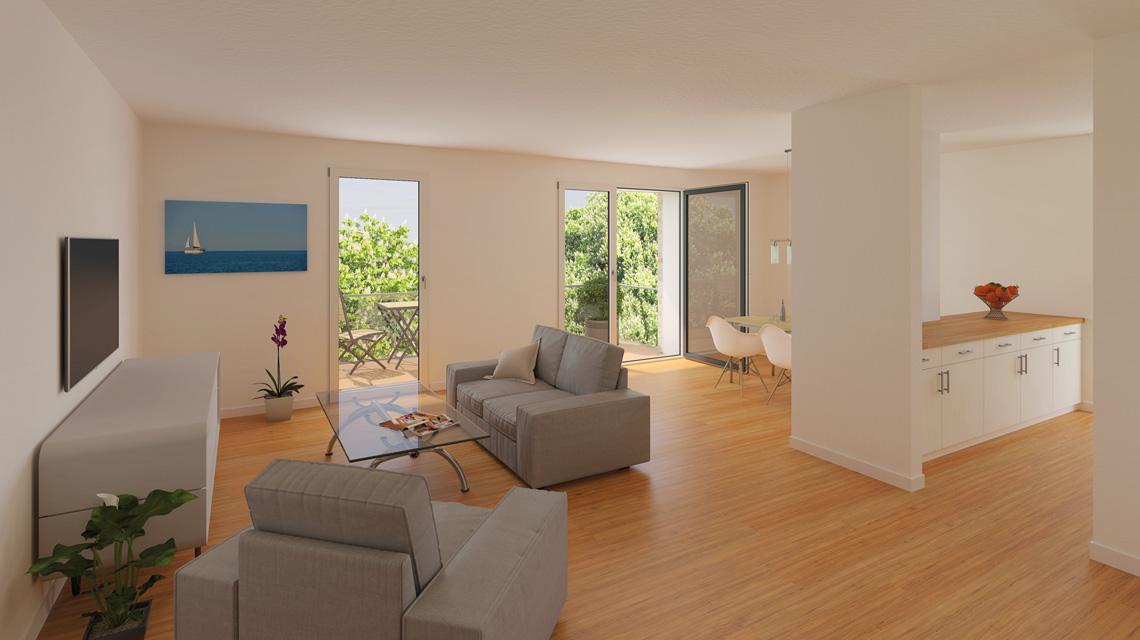 Innenraumvisualisierung Neubau-Wohnung in Flensburg