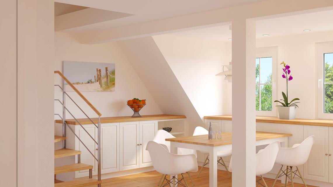Innenraumvisualisierung Dachgeschosswohnung in Haigerloch