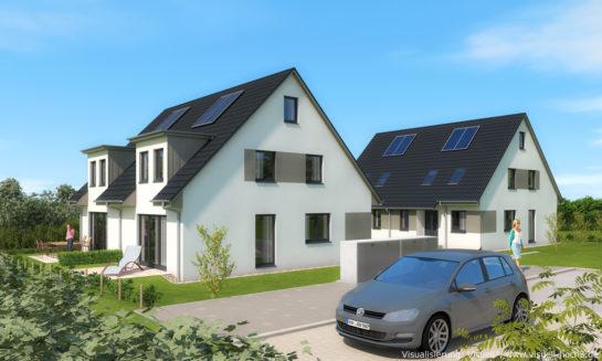 Architekturvisualisierung Doppelhaus-Projekt in Lübeck-Kücknitz