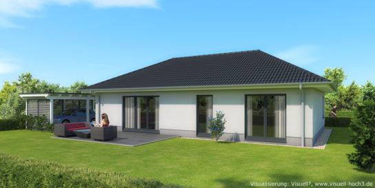 Bungalow mit 100qm Wohn- und Nutzfläche - Architekturvisualisierung