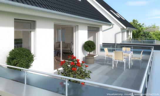 Architektur-Visualisierung einer Dachterrasse in der Nähe von Nürnberg