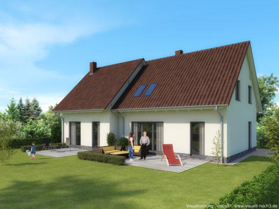 Architektur-Visualisierung Doppelhaus auf Rügen