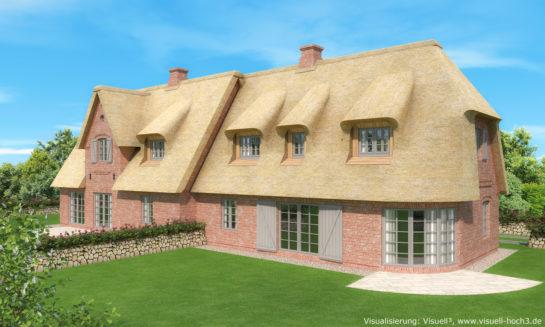 Architekturvisualisierung Doppelhaus mit Reetdach auf Sylt