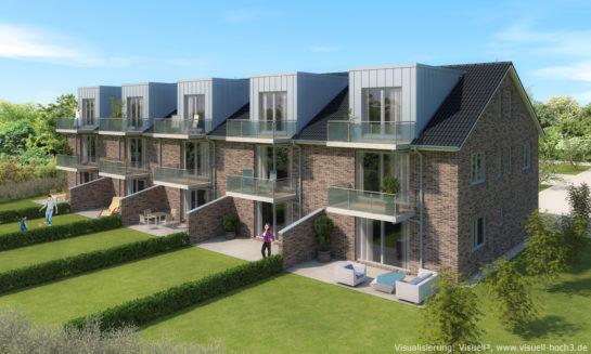 Architekturvisualisierung Reihenhaus-Anlage in Neustadt
