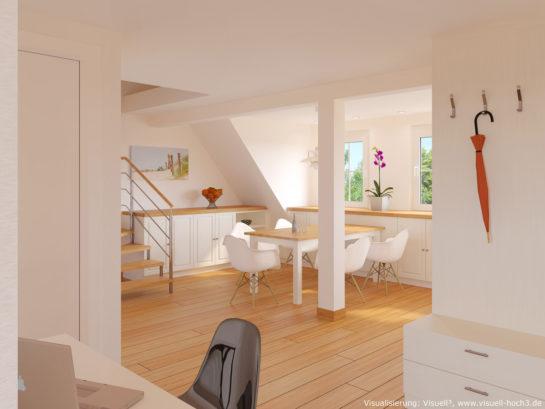 Innenraumvisualisierung einer Dachgeschosswohnung in Haigerloch