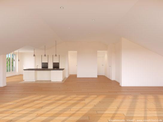 Innenraumvisualisierung einer Dachgeschosswohnung in Pforzheim