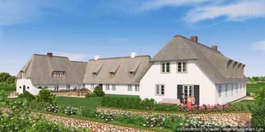 3D-Visualisierung Reetdachhaus in Sylt-Archsum