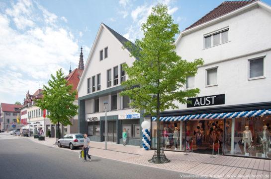 Architektur-Visualisierung eines Wohn-und-Geschäftshauses in Bühl