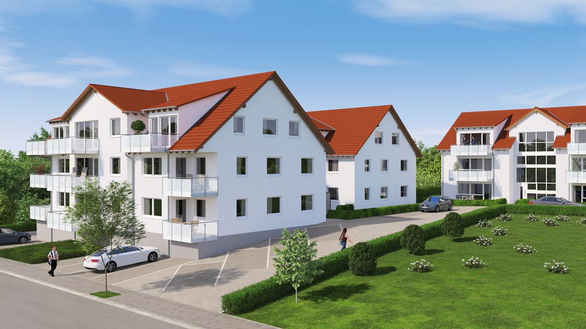 Architekturvisualisierung Mehrfamilienhaus-Projekt mit 24 Eigentumswohnungen in Bisingen