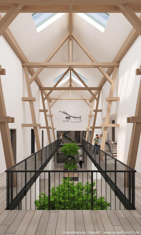 Innenraumvisualisierung eines Atrium in Eutin