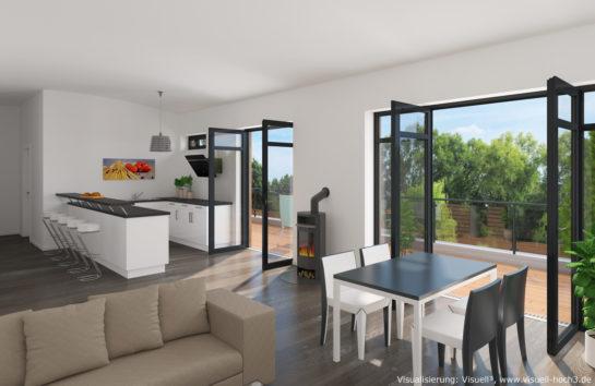 Innenraumvisualisierung einer Dachgeschosswohnung in Eutin