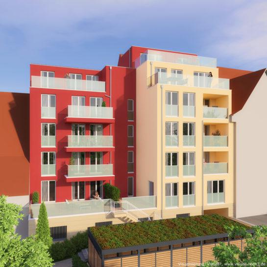 3D-Visualisierung Mehrfamilienhaus in Schömberg - Gartenseite
