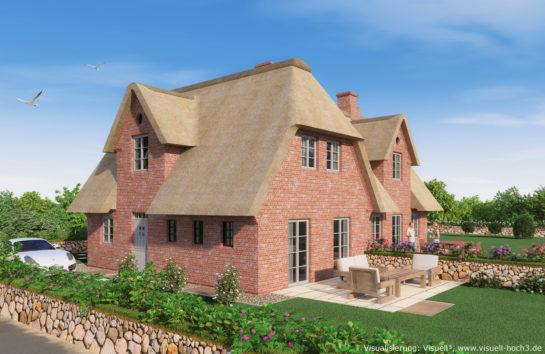 3D-Visualisierung Reetdach-Doppelhaus auf Sylt